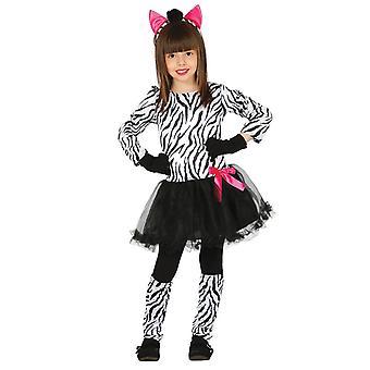 Meisjes Zebra dierentuin dierlijke Fancy Dress kostuum