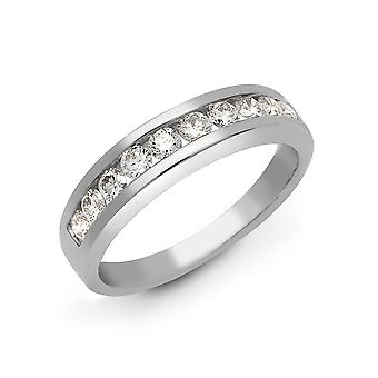 Jewelco London damer solid 18ct hvid guld kanal sæt runde G SI1 0.5 CT diamant dainty band evigheden ring 4mm
