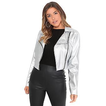 KRISP  Womens Ladies Soft Faux Leather Cropped Light Biker Jacket Short Bomber Zip Coat