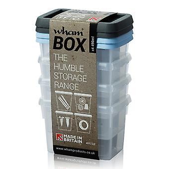 Juego de almacenamiento Wham de 4 - 490 ml Wham cajas de almacenamiento de plástico con tapas de colores mixtos