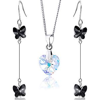 Rhodium plated earrings and necklace with swarovski crystal. jewellery box. by 2splendid. 2 for 1. enqz039