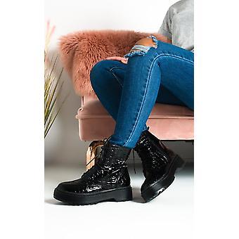 IKRUSH Womens Sally Lace Up Croc Print Biker Boots