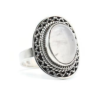 Ring sølv 925 sterling sølv Rose kvarts pink (KLE-RI-361)