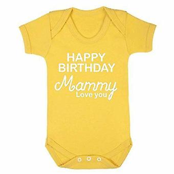 Happy birthday mammy yellow short sleeve babygrow