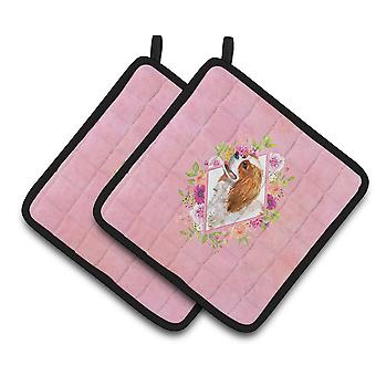 Cavalier King Charles Spaniel Pink Flowers Pair of Pot Holders
