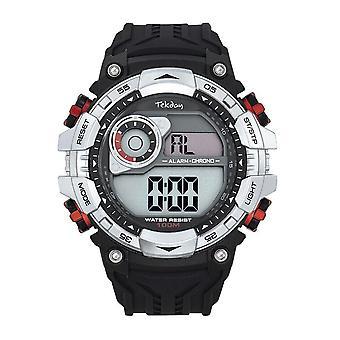 Tekday Watch 655946 - Digital Multifunction Silicone Black Box Silver Red Keys Men