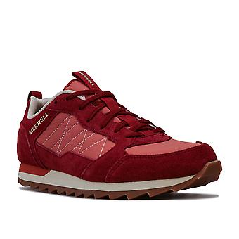 Womens Merrell Alpine Sneaker Trainers In Red- Layered Nylon And Suede Leather