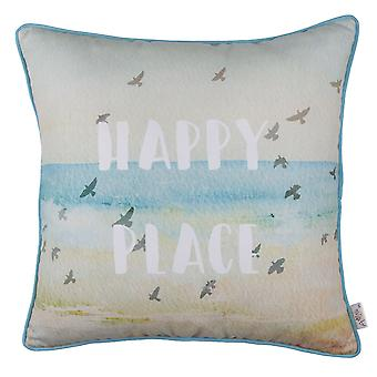 Square Happy Place Beach Quote Decorative Throw Pillow Cover