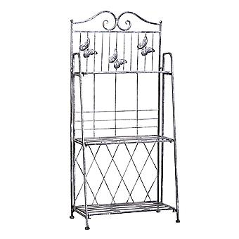 Outsunny Indoor Outdoor Freestanding 3-Tier Garden Plant Stand Metal Flower Display Rack for Potted Plants Balcony Décor 44L x 25W x 96H cm