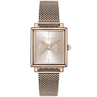 Ted Baker Isabella Quartz Retro Square Silver Bow Dial Rose Gold Mesh Stainless Steel Bracelet Ladies Watch TE50516004