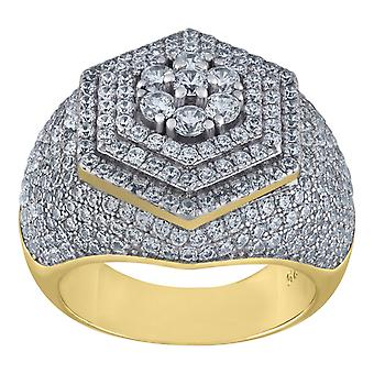 925 Sterling Silver Mens Two tone Cubic Zirconia Hexagon Head 11mm Cluster Ring Jewelry Gifts for Men - Ring Size: 6 to