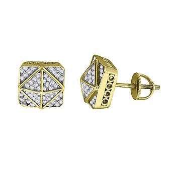 925 Sterling Silver Mens Yellow tone CZ Cubic Zirconia Simulated Diamond Square Kite Stud Earrings Jewelry Gifts for Men
