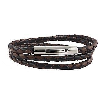 Cuerda de cuero cadena de cuero 6 mm hombres collar negro / marrón 17-100 cm de largo con palanca de impresión cierre plateado trenzado