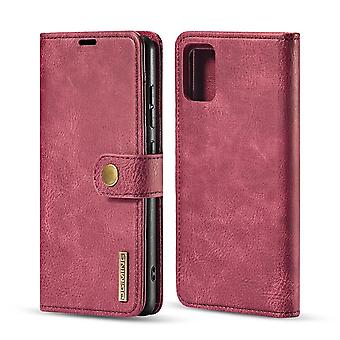 Dg. MING Samsung Galaxy A71 Split Leather Wallet Case - Red