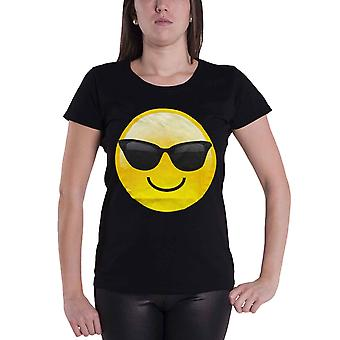 Emoji Icon T Shirt Parodie lustige Emotion Cool Shades Womens Skinny Fit Schwarz