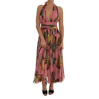 Dolce & Gabbana Multicolor Ananas-Print Seide-Chiffon Kleid