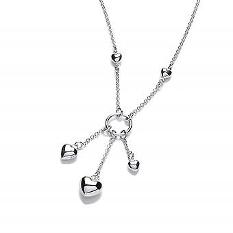 David Deyong Sterling Silver Cascading Heart Necklace