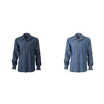 James und Nicholson Mens Denim Shirt