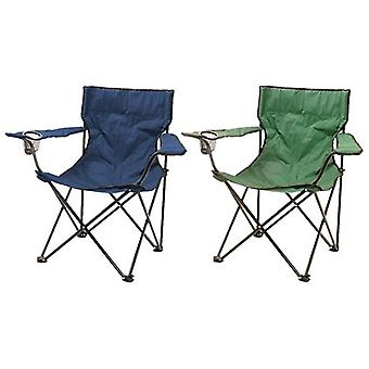 Milestone Lightweight Foldable Leisure Steel Camping Chair Green Or Blue