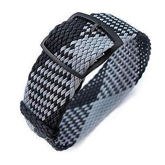 Strapcode fabric watch strap 20, 22mm miltat perlon watch strap, black & light grey, pvd black ladder lock slider buckle