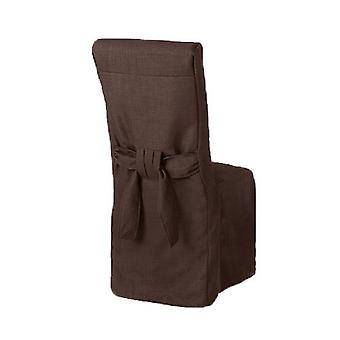 Cioccolato Brown lino Look tessuto imbottito Slipcover per Scroll Top Dining Chair