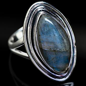 Labradorite Ring Size 8.5 (925 Sterling Silver)  - Handmade Boho Vintage Jewelry RING3759