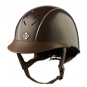 Charles Owen Ayrbrush Riding Helmet - Brown/rose Gold Pinstripe