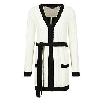 Elisabetta Franchi Mk47l01e2e84 Women's White/black Cotton Cardigan