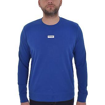 Wrangler hombres Logo Crew de manga larga Pullover sudadera suéter Jersey - azul