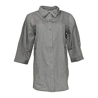 Joan Rivers Classics Coleção Mulheres'Top Boyfriend Shirt Cinza A276061