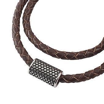 Colar de fita de couro trançado com pingente cadeia feminina 4 mm marrom