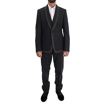 Dolce & Gabbana Gray Wool One Button 3 Piece Suit -- KOS1526320