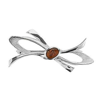 Orton West Amber Brooch - Silver
