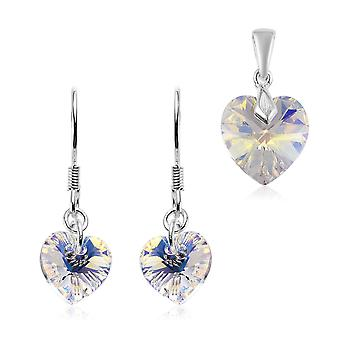 J Francis Set of 2 Crystal from Swarovski AB Crystal Earring & Pendant in Silver