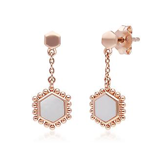Mother of Pearl Slice Chain Drop Earrings in Rose Gold Plated Sterling Silver 271E020604925