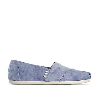 Women's Toms Classics Washed Twill Espadrille Pumps in Blue
