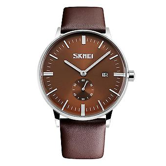 Skmei Mens Brown Classic Watch Genuine Comfort Leather Strap Date Display SK9083