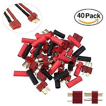 YUNIQUE UK ® 20 Pairs Ultra T-Plug Connectors Deans Style Male and Female with 40pcs Shrink Tubing