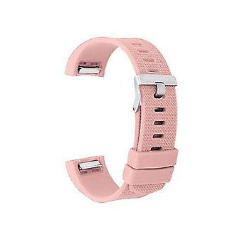 Watch strap for fitbit charge light pink silicone rubber sizes small and large