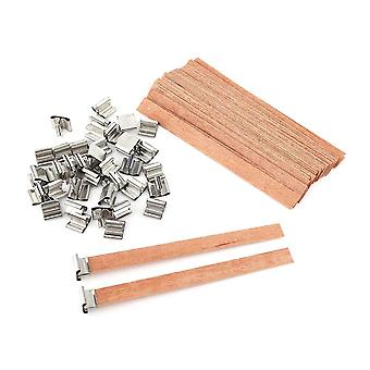 40pcs Wooden Wick Candle With Sustainer Tab Candle Wick Core For Diy Candle