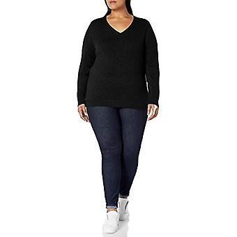 أساسيات المرأة & apos;ق زائد حجم خفيف الوزن V-الرقبة سترة, أسود, 2X