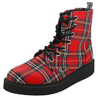T.U.K Pointed Womens Creeper Boots in Red Tartan