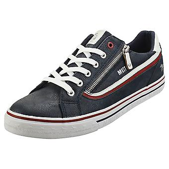Mustang Lace Up Side Zip Mens Casual Trainers in Navy