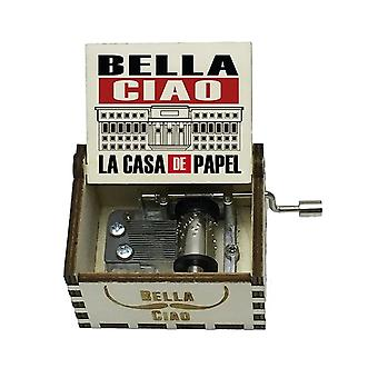 La Casa De Papel Bella Ciao 18 Note Hand Crank White Music Box For Christmas