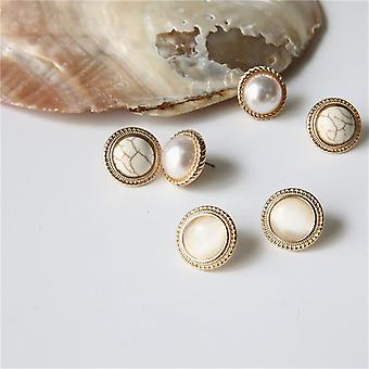 Gold Round Opal Stone Earrings