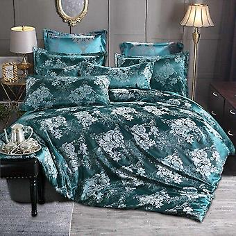 Luxury Jacquard Tribute Silk Europe Floral Printed Duvet Cover Set