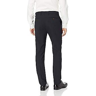 ABOTOADO Men's Slim Fit Stretch Wool Dress Pant, Navy, 32W x 28L