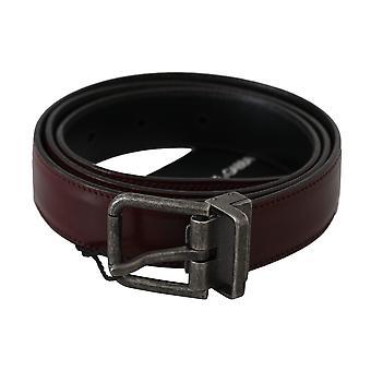 Dolce & Gabbana Bordeaux Leather Gray Brushed Buckle Belt BEL60334-100