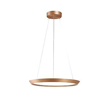 LED Round Circular Ceiling Pendant Satin Gold Phase Cut Dimming 31cm 1300lm 2700K