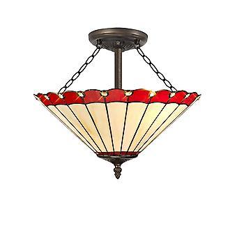Luminosa Verlichting - 3 lichte semi flush plafond E27 met 40cm Tiffany Tint, Rood, Kristal, Oude Antieke Messing